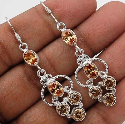 "4CT Padparadscha Sapphire 925 Solid Sterling Silver Earrings Jewelry 2 1/4"" Long"