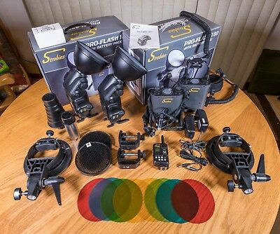 2 Interfit Strobies Pro-Flash 180's for Canon, Nikon w/ Battery Packs and EXTRAS