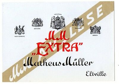 1920s MATHEUS MULLER, ELTVILLE, GERMANY MM EXTRA AUSLESE WINE LABEL