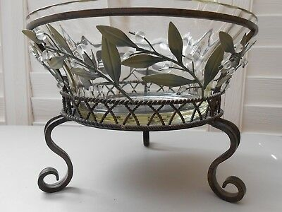 Partylite Garden Lites 3 Wick Holder With Glass Bowl ,box Retired Used P8054