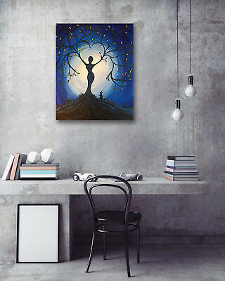 Beauty Tree Moon Rabbit Modern Art Poster Print Room Home Decor Canvas Painting