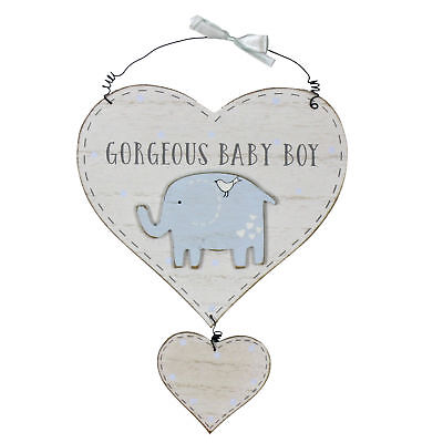 Boy Wooden Heart Door Plaque Sign Gorgeous Baby Boy Elephant Detail CG1303B