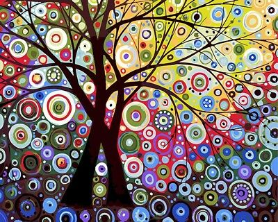 Colorful Tree Of Sun Paint By Number DIY Oil Painting Kit Paint On Canvas 16X20""