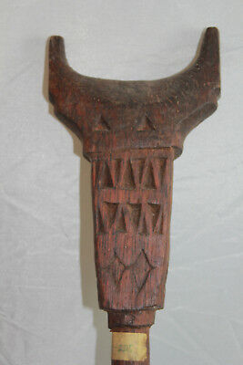 Vintage Hand Carved Wooden Papua New Guinea Tribal Staff Walking Stick (350)