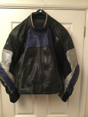Rev'it Leather Motorcycle Jacket Black,Silver,Blue 44""