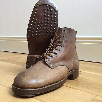 RARE 1952 FRENCH ARMY LEATHER HOBNAIL BOOTS MILITARY FIRST INDOCHINA WAR 50s 10