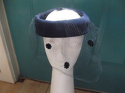 Women's Vintage Navy Blue Halo Style Hat with Blue Netting