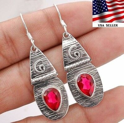 "3CT Rubellite Tourmaline 925 Sterling Silver Earrings Jewelry 1 7/8"" Long A8-6"