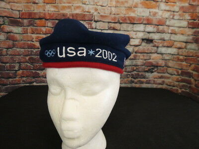 ROOTS 2002 Olympics Beret Cap Hat Beanie USA Olympic Team Blue Red NWT