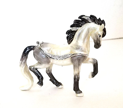 Kingspoint Anto Andalusia Horse  Pewter Bejeweled Hinged Trinket / Jewelry  Box