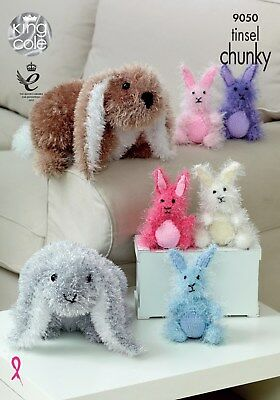 King Cole Knitting Pattern 9050 -  RABBITS 2 sizes in Chunky Tinsel