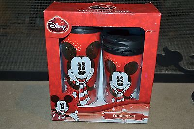 NEVER USED!!! Disney Mickey Mouse Mug Tumbler Set 8oz & 12oz Screw on Snap Lids