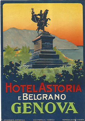 HOTEL ASTORIA luggage RICHTER label (GENOVA)