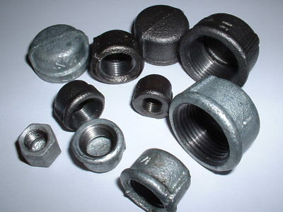 "Malleable Iron Stop End Blanking Cap Black Or Galvanised Sizes 1/4""bsp To 1""bsp"