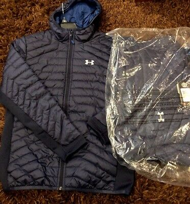 New NWT UNDER ARMOUR ColdGear REACTOR JACKET Quilted BLUE $184 Men's Medium Coat