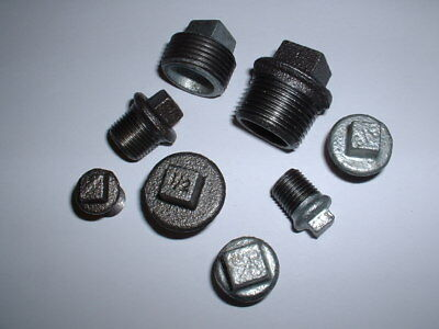 "Malleable Iron Stop End Blanking Plug Black Or Galvanised Sizes 1/4"" To 3/4""bspt"