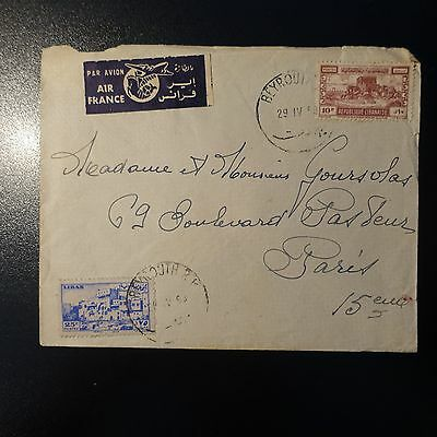 Lebanon Letter Cover Seal Beyrouth 1950 -> Paris