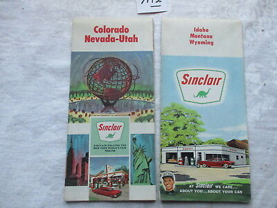 Two [2] Older U.s. Sinclair Road Maps.