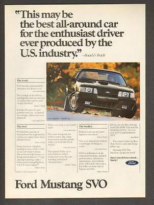 "1984 Ford Mustang SVO Coupe photo ""Best All-Around Car"" promo print ad"