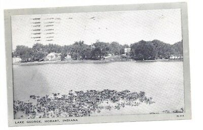 IN Hobart Indiana antique 1948 post card Lake George View