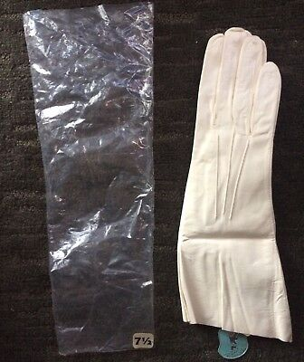 Launder Leather Gloves White Size 7.5 Ireland's Kidtext Driving Gloves