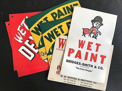 Six Mid Century Vintage Wet Paint Signs Four Different