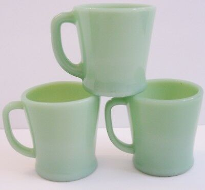 Lot 3 Cups Fire King Jadeite D Handle Coffee Mugs Vintage Green Farmhouse Chic A