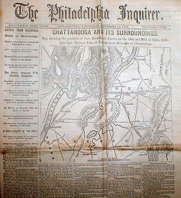 1863 Civil War newspaper w MAP Chattanooga Tennessee BATTLE CHICKAMAUGA Georgia