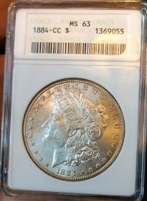 1884-CC  early ANACS MS63 Morgan silver dollar,Satin white BU CARSON CITY