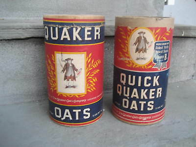 Vintage Quaker Oats Cardboard Canisters....Lot of 2 Different