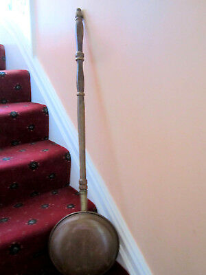 Old Antique Georgian Style Bed Warming Copper Pan Hard wood Turned Handle