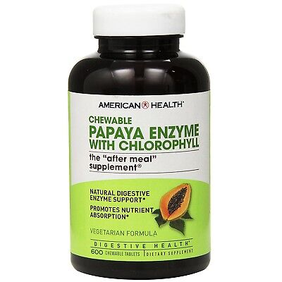 American Health PAPAYA ENZYME with Chlorophyll 600 Chewable Tablets DIGESTIVE