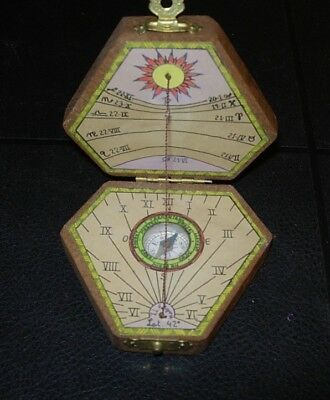 Sundial And Compass In Case Diptych Gnoman Intact  Japan