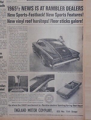 1965 newspaper ad for Rambler - Marlin, Sports-Fastback with Sports features