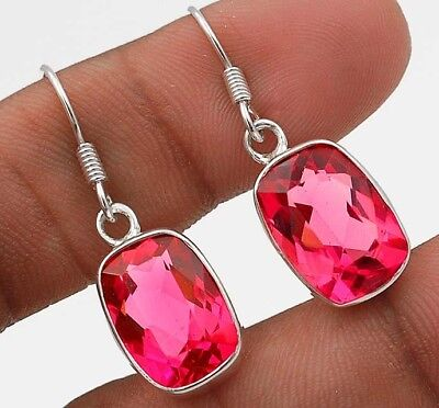"14CT Rubellite Tourmaline 925 Solid Sterling Silver Earrings Jewelry 1 1/3"" Long"