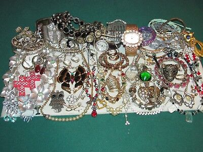 70 Piece Lot Of Vintage To Modern Rhinestone Costume Jewelry, Pins, & More!