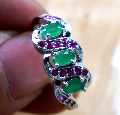 Natural RUBY& EMERALD   GEMSTONE Solid Silver RING JEWELRY size 7.5
