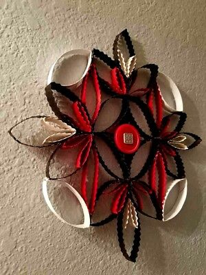 WALL ART ~ RED BLACK WHITE~ Made From Paper Towel Toilet Paper Rolls UNIQUE L@@K