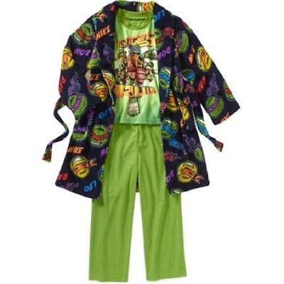 Boy Character Ninja Turtles Robe and PJ 3-Piece Gift Set Size 10/12 New With Tag
