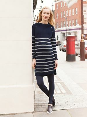 New JoJo Maman Bebe Maternity Nursing Navy Breton Stripe Sweater Dress M 8 10