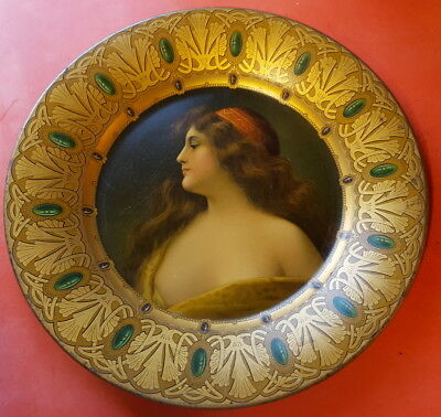 Antique Tin Plate Tray Vienna Art Portrait -Very Nice!