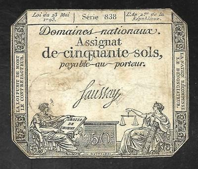 France - Old 50 Sols Note - 1793 - A70 - FINE to VF