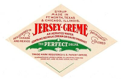 1900s JERSEY CREME FORTH WORTH, TEXAS AERATED WATER JERSEY CREME DRINK LABEL