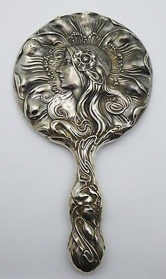 "Antique UNGER BROTHERS Sterling Silver Art Nouveau Woman Vanity 9"" Hand Mirror"