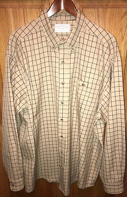 Authentic C. C. FILSON Camel & Black Check Wool Men's Shirt XXL 2XL ~NEW~