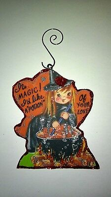 Vintage Valentine's Day  Card Glitter Wood Ornament Magic Potion Witch