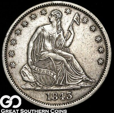 1843-O Seated Liberty Half Dollar, Better Date AU New Orleans Issue