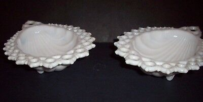 White Milk Glass LACE EDGE SHELL DISH Lot of TWO Vintage !