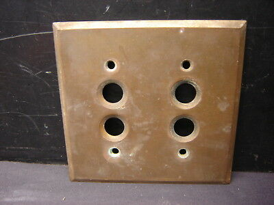 Old Brass Push Button Double  Switch Plate