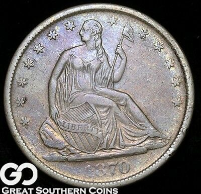1870-S Seated Liberty Half Dollar, Choice XF++ Better Date Silver Half, Free S/H